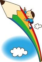 大きなエンピツで空にのぼる男の子 10490000009| 写真素材・ストックフォト・画像・イラスト素材|アマナイメージズ