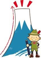 大きなエンピツの杖で山登りをする男の子