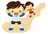 昔あそび(けんけんぱ)をする子ども 10490000040| 写真素材・ストックフォト・画像・イラスト素材|アマナイメージズ