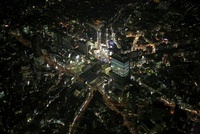 渋谷駅周辺の空撮夜景