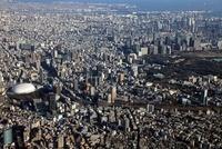 東京ドームから大手町にかけての超高層ビル群の空撮