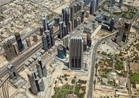 ドバイの超高層ビル群の空撮