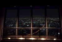 東京スカイツリーの天望デッキの窓と夜景