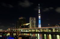 駒形橋より望む「粋」にライトアップした東京スカイツリー