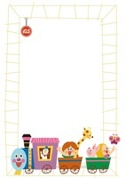 機関車にのった子供たちとレールのフレーム