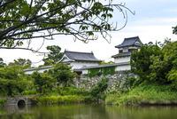 福岡城跡(下之橋御門と伝潮見櫓、堀の外から)