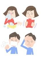 風邪を引いた男性と女性