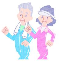 ウォーキングをしている老夫婦