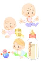 おもちゃで遊ぶ赤ちゃんといろんな動作の赤ちゃん