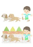 犬と散歩する少年