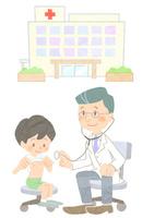 病院と医師と診察を受ける少年