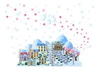 梅が咲く神社のある雪の街