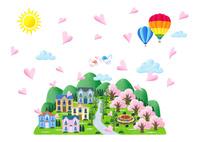 桜咲く春の街