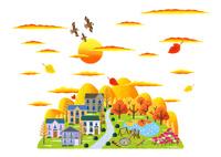 秋の夕暮れとコスモスの咲く公園のある街