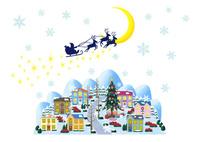 サンタのプレゼントと月夜のクリスマスの街