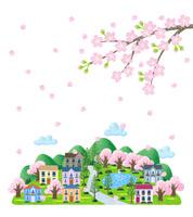 桜の舞う街並