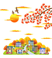 秋の夕暮れとコスモスの咲く街並