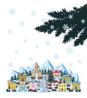 雪景色のクリスマスの街並