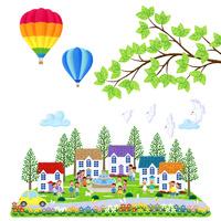 気球とハトが飛ぶ人々が集う街