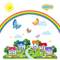 蝶が舞い虹の架かる人々が集う街