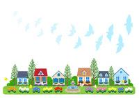 街イラスト/鳩が舞う噴水のある住宅街