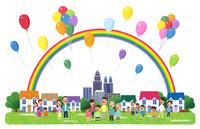 街イラスト/虹がかかり風船が舞う街