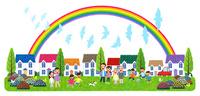 街イラスト/鳩が舞う虹のかかる住宅街