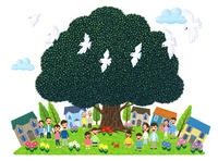 街イラスト/大きな木に人々が集う街