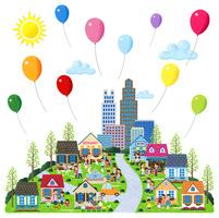 風船が舞う街と人々