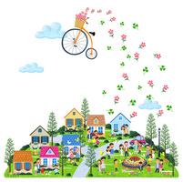 空に浮く自転車と街の人々