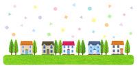 住宅と幾何学模様