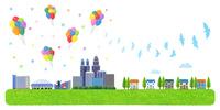 風船と鳩が舞うビル街と住宅