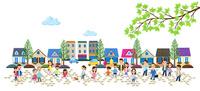 石畳の住宅街と人々