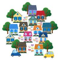 カラフルな住宅街に住むファミリー