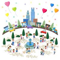 噴水の広場がある街と人々