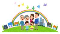 小鳥達が飛ぶ虹の架かる住宅街と三世代家族