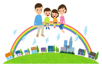 虹に乗る家族と住宅街 10514000064| 写真素材・ストックフォト・画像・イラスト素材|アマナイメージズ