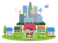 郊外の住宅地に住む家族 10514000065| 写真素材・ストックフォト・画像・イラスト素材|アマナイメージズ
