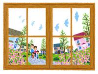 窓越しに見る住宅街を散歩する家族