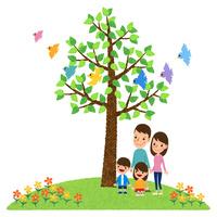 小鳥が舞う木の下に立つ二世代家族 10514000076| 写真素材・ストックフォト・画像・イラスト素材|アマナイメージズ