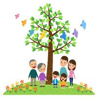小鳥が舞う木の下に立つ三世代家族 10514000077| 写真素材・ストックフォト・画像・イラスト素材|アマナイメージズ