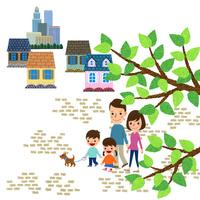 小枝越しに見える散歩する家族 10514000078| 写真素材・ストックフォト・画像・イラスト素材|アマナイメージズ
