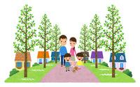 並木の遊歩道がある住宅街を散歩する家族 10514000079| 写真素材・ストックフォト・画像・イラスト素材|アマナイメージズ