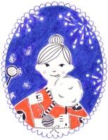 カレンダー 8月 夏祭りの花火と浴衣の女の子
