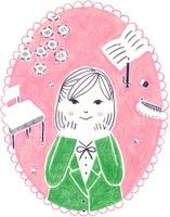 カレンダー 4月 入学式と制服の女の子