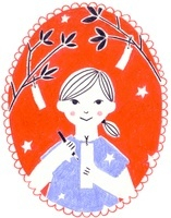 カレンダー 7月 七夕の女の子