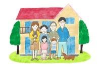 三世代家族と家のイラスト
