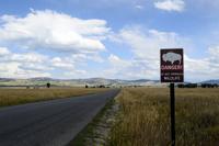 グランドティトン国立公園のアンテロープフラットロード沿いの標識