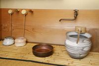 水屋に置いた茶道の道具