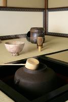 茶室の炉釜からの湯気